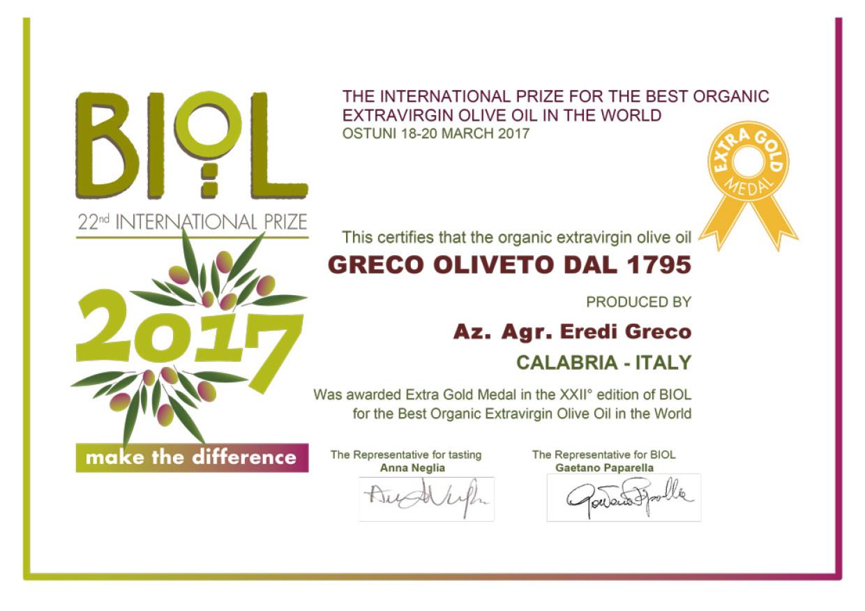 L'Azienda Greco Oliveto si aggiudica la Medaglia Extragold del Premio BIOL