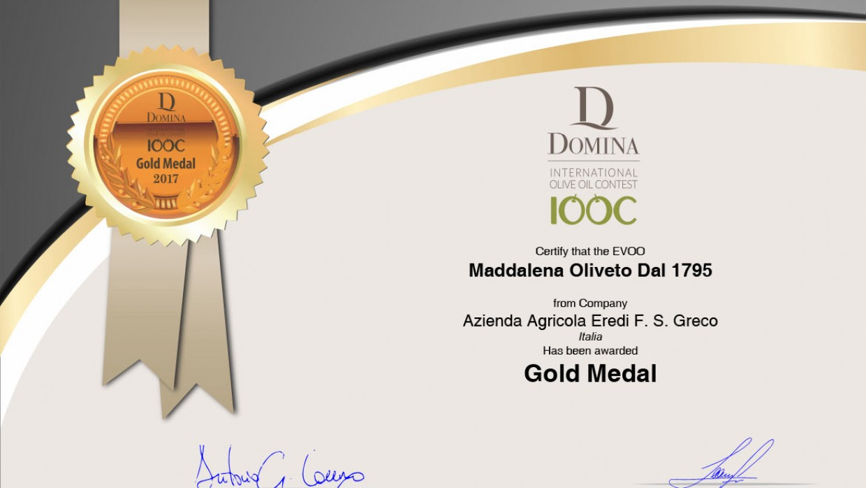L'olio Maddalena si aggiudica il premio Gold Medal 2017