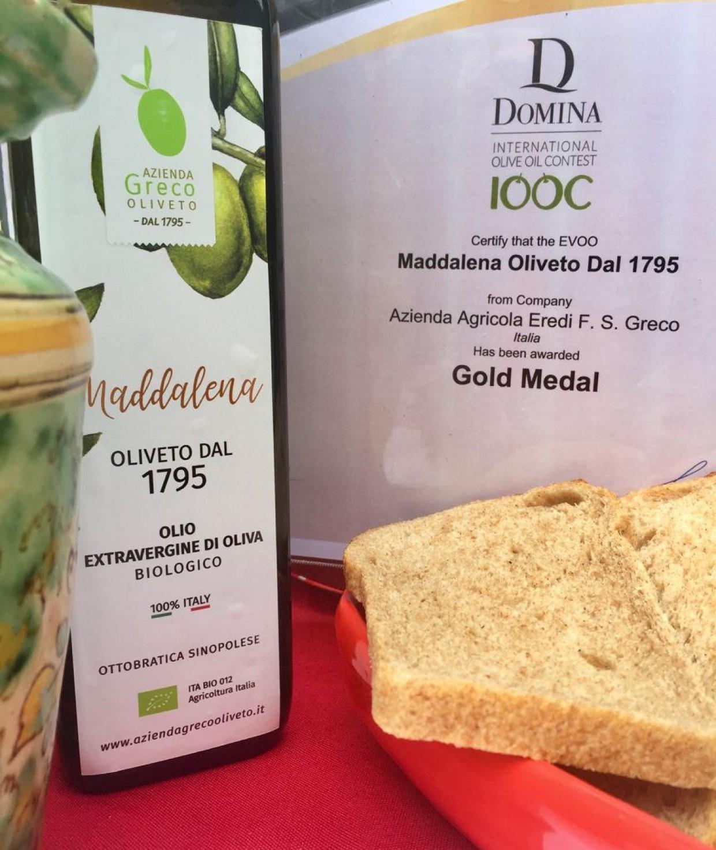 L 'huile Maddalena Oliveto dal 1795 gagne la Gold Medal au concours Domina IOOC